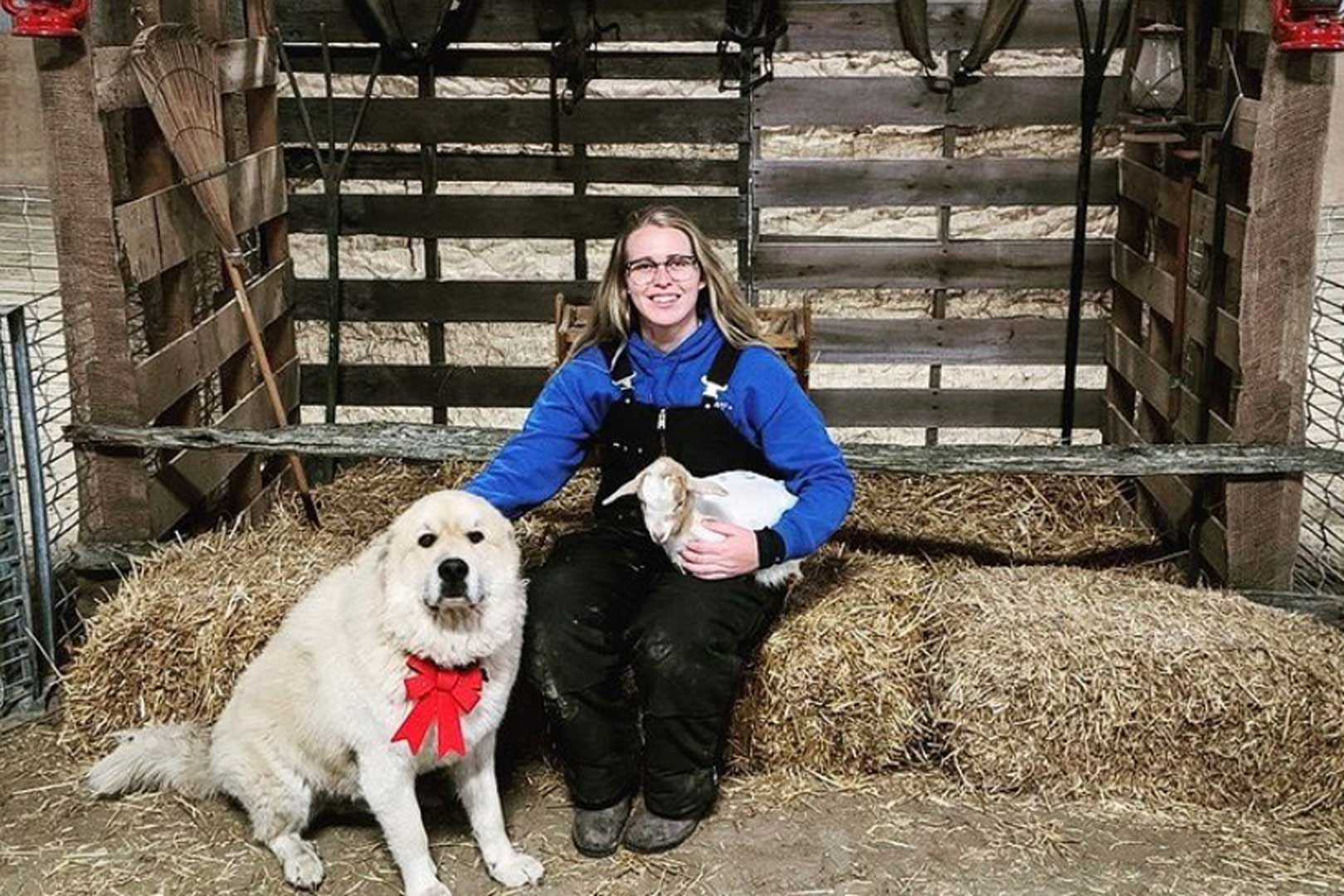 Kathryn and the Christmas Pup on the Farm at Lionel's Pony Farm